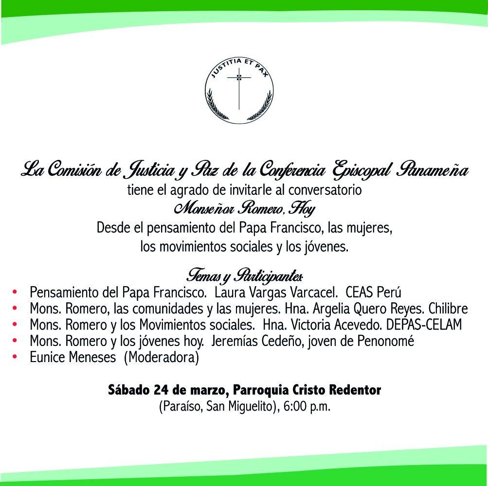 """Conservatorio sobre """"Monseñor Romero"""".  Desde el pensamiento del Papa Francisco"""